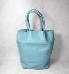 Sky Blue Leather Bag Tote Shopping BagBuy by JacquelineStudio