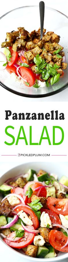 Panzanella Salad - Easy and healthy panzanella salad recipe with homemade pesto croutons. Recipe, salad, healthy, side, appetizer | pickledplum.com