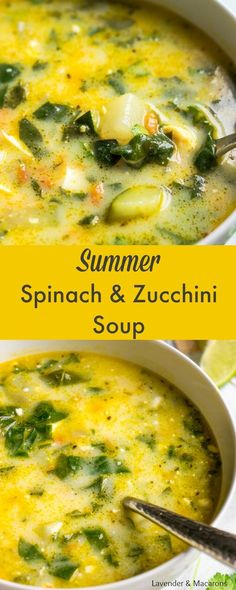 This quick and easy Summer Soup with Spinach And Zucchini (also called Green Borscht) is packed with flavor. It's delicious, hearty and satisfying recipe great for lunch or dinner with the family. Can also be made vegetarian if you choose to use vegetable Easy Soup Recipes, Seafood Recipes, Cooking Recipes, Healthy Recipes, Dinner Recipes, Lowfat Soup Recipes, Vegitarian Soup Recipes, Healthy Soups, Steak Recipes