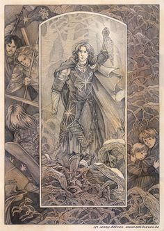"""""""They came at unawares in the middle of winter, and fought with Dior in the Thousand Caves; and so befell the second slaying of Elf by Elf. Maedhros searching for the sons of Dior O Silmarillion, History Of Middle Earth, Jrr Tolkien, Lord Of The Rings, Lotr, Fantasy Characters, The Hobbit, Les Oeuvres, Fantasy Art"""