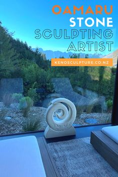 One of our commissions, as you can see, is sitting in a very zen spot. Sculpting, Zen, Sculptures, Artists, Stone, Maori, Sculpture, Rock, Stones