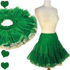 Vintage 50s Style Green Crinoline St Patricks Day M RUFFLED Lace Dress Petticoat #PinupDresses.com #PinupDresses #Vintage #Crinoline #Green #StPatricksDay #StPatricks #SquareDancing