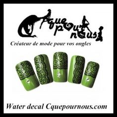 Stickers d'ongles Nail art Water decal Dentelle fine Noire