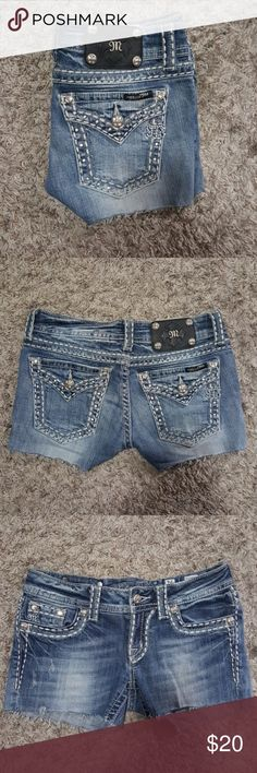 Miss Me Cut Off Jean Shorts Size 26 I bought these from another seller on Posh about a week ago. I tried them on when they were delivered and they do not fit. They are super cute and in really good condition. I am reselling them hoping to get some of my money back. They are size 26, were originally a pair of boot cut jeans, and I would guess the inseam is about 2.5-3 inches.   Feel free to ask questions and thanks for looking! Miss Me Shorts Jean Shorts