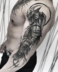 3 healed works check out my studio - Tattoo Sketch Style Tattoos, Sketch Tattoo Design, Tattoo Sketches, Samurai Warrior Tattoo, Warrior Tattoos, Arm Tattoo, Body Art Tattoos, Cool Tattoos, Kanji Tattoo