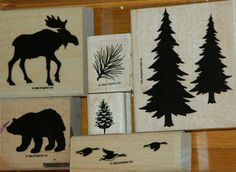 Stampin' Up  Set of 6 Pines  dd pines moose bear geese - for upstairs bathroom theme