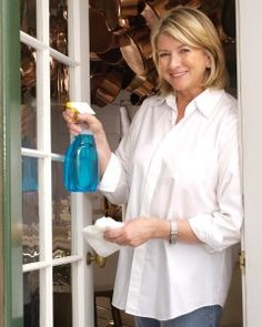 Martha Stewart: Cleaning windows with 50% vinegar 50% water. A healthy green and cheap alternative to chemicals.