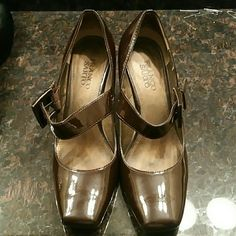 Heels Patent leather with buckle, some scuffs Franco Sarto Shoes Heels