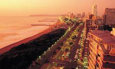 The Durban beachfront at sunset. #durban #southafrica #durbanbeach
