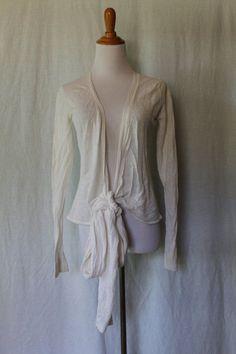 ELIE TAHARI Ivory Linen & Silk Knit Ballerina Wrap Sweater Beautiful! Sz Medium #ElieTahari #Shrug