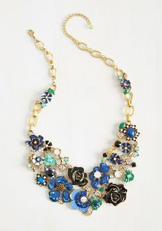 Vogue Variable Necklace - Blue, Floral, Casual, Statement, Spring, Summer, Better, Rhinestones, Gals
