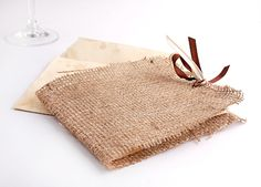 Unique burlap invitation with papyrus by LENA SEPTEMVRI. #burlapinvitation #ideasforrusticweddings #lenaseptemvri