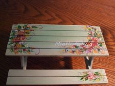 Miniature 1 /12th Scale Picnic Table Artisian Made. Painted by Joyce Dorothy Hamill/Rawcliffe