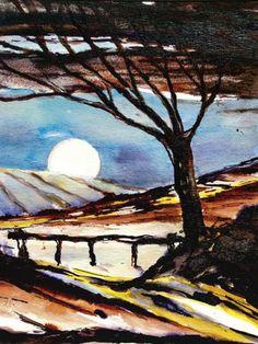 Weißer Mond, Malerei, Kunst