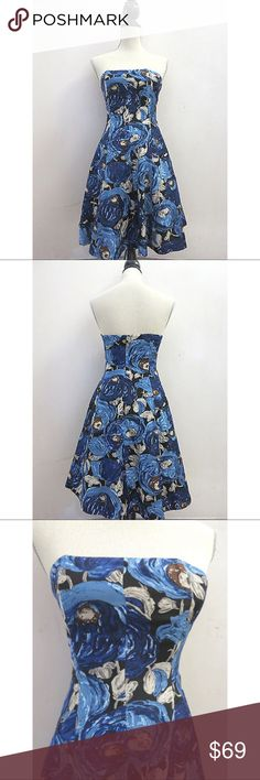 🌺 Plenty Frock Floral Silk Strapless Dress Plenty Frock! by Tracy Reese Blue & Black Floral Silk Strapless Dress.  Beautifully constructed dress in the perfect abstract watercolor floral print. Plenty by Tracy Reese Dresses Strapless