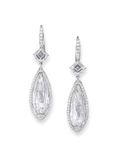 A PAIR OF DIAMOND EAR PENDANTS. Each briolette diamond, weighing 5.90 and 5.81 carats, within a circular-cut diamond border, to the square-shaped diamond surmount and diamond half-hoop, mounted in gold, 3.6 cm.