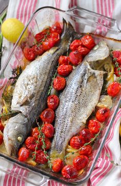 Whole Roasted Striped Bass With Tomatoes and Herbs fish recipes, seafood recipes. Fish Dishes, Seafood Dishes, Fish And Seafood, Seafood Recipes, Cooking Recipes, Healthy Recipes, Local Seafood, Seafood Market, Delicious Recipes