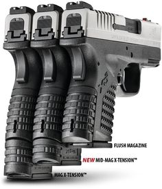New Springfield XD-S Mid-Mag Magazine. A small magazine for carrying and a full size spare for when you can carry a bigger gun, or carry it as a spare mag in case a reload is needed Xd Springfield, Springfield Firearms, Fire Powers, Military Guns, Cool Guns, Guns And Ammo, Concealed Carry, Tactical Gear, Airsoft