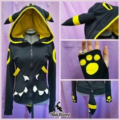 MADE TO ORDER Umbreon yellow inspired cute pokemon by BlakBunni - For next Halloween Cosplay Diy, Cosplay Outfits, Mode Kawaii, Langer Mantel, Mein Style, Pokemon Cosplay, Lolita, Cool Hoodies, Kawaii Clothes