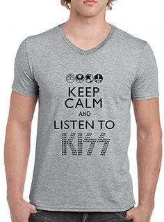 Keep Calm And Listen To Kiss V-Cuello Camiseta Para Hombre Gris Todos Los Tamaños | Men's V-Neck T-Shirt Grey #regalo #arte #geek #camiseta
