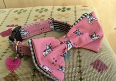 Flossie Pink Bow Tie Designer Dog Collar, £22.00
