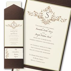 A french floret design is shown on this layered invitation that is enclosed in a pocket.