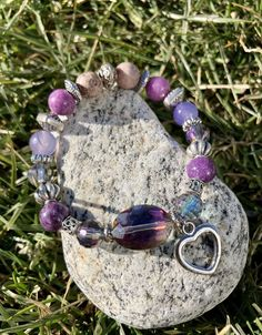 Excited to share this item from my #etsy shop: Heart Charm Bracelet. Women's Bracelet. Bohochic. Women's jewelry. Purple pink jewelry. Bohemian Jewelry #no #unisexadults #bohohippie #pink #lovefriendship #purple #stackedbracelets #valentinesday #glassbracelet Pink Jewelry, Bohemian Jewelry, Heart Charm, Hippie Boho, Boho Chic, Valentines Day, Charmed, Etsy Shop, Inspired
