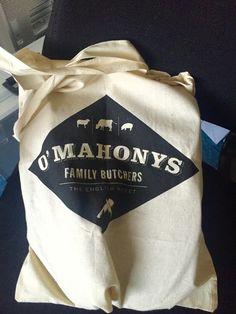 O'Mahony Butchers new logo applied to canvas shopping bag. Shopping Bag, Reusable Tote Bags, Graphic Design, Drink, Logo, Canvas, Fashion, Tela, Moda