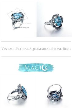 Vintage Floral Cross Aquamarine Ring