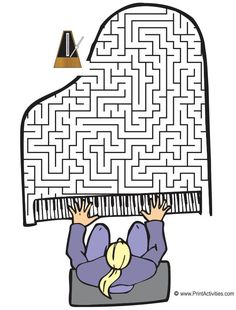 Move the metronome through the grand piano shaped maze to the pianist. It's a terrific maze for musical kids. Music Lessons For Kids, Music For Kids, Piano Lessons, Preschool Music, Music Activities, Piano Teaching, Teaching Kids, Learning Piano, Music Worksheets