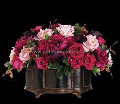 "Artificial Flower Arrangement w/ Rose, Peony, Ranunculus Silk Flowers – 16"" - Commercial Silk Int'l"