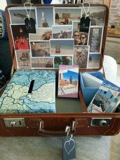 Ça y est, j'ai terminé mon urne valise! J'ai mis des photos de nos voyages parce que c'est notre passion. J'ai mis également des enveloppes (mais je ne sais pas si les gens vont s'en servir...) et les guides du routard pour notre voyage de noce. Vous