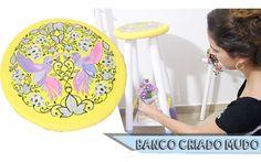DIY: Banquinho vira Criado Mudo com estampa do livro Jardim Secreto