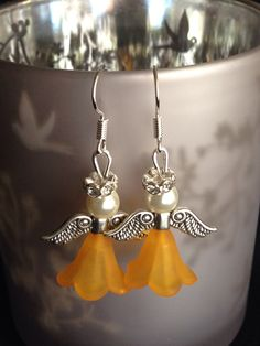 Yellow/orange angel Christmas earrings