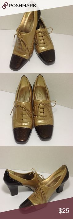 "AK Anne Klein two tone heels Worn once in good clean condition, lace up loafers with 3"" leather heels Anne Klein Shoes Heels"