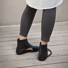 New collection! Designer  open booties  / Women Black sandals / women black sandals / Flat sandals / Spring leather shoes