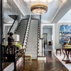 Tom Stringer: An Adventurous Life Design Chic Stairway Decorating Adventurous Chic Design Life Stringer Tom Stairway Decorating, Hallway Decorating, Decorating Your Home, Penthouse For Sale, Luxury Penthouse, White Oak Floors, Entry Foyer, Life Design, Pent House