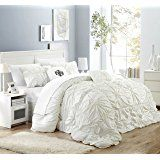 Chic Home CS1430-AN Halpert Floral Pinch Pleat Ruffled Designer Embellished King Comforter Set, 6-Piece, White