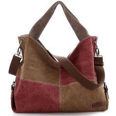 Buy Tinkin Patchwork Canvas Women Handbags Tote Vintage Femal Shoulder Bag Contrast Color Crossbody Bag for Young Fashion Travel Bag Canvas Handbags, Hobo Handbags, Shoulder Handbags, Cross Body Handbags, Shoulder Bags, Hobo Purses, Canvas Purse, Shoulder Straps, Leather Handbags