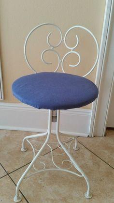 Vintage Adjustable Vanity Dresser Boudoir Stool Chair Hollywood Glam  #Unbrandedu2026