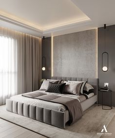 If you are interested what the current trends in stylish modern design are, just take a look at the latest project by Aleksandra Wachowicz Room Design Bedroom, Bedroom False Ceiling Design, Master Bedroom Interior, Modern Master Bedroom, Home Room Design, Bedroom Furniture Design, Home Decor Bedroom, Modern Tv Room, Black Bedroom Decor