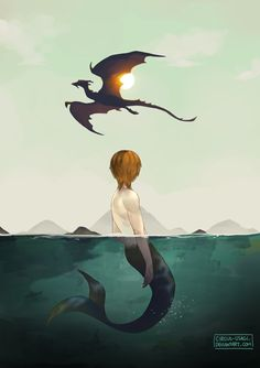 Merman and Dragon  this is about a dream i had last night about a dragon and a giant merman who were in love with each other 0__0 it was all weird but also fantasy-ish and i loved it and lay in bed thinking about it ...