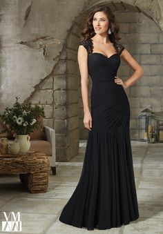 Evening Gowns and Mother of the Bride Dresses by VM Collection Stretch Mesh with Beaded Net Available in Black, Aubergine, Petrol