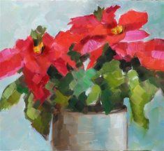 "Daily Paintworks - ""Poinsettias"" - Original Fine Art for Sale - © Martha Lever"