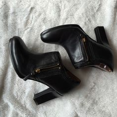 "Naturalizer black booties Worn twice for only a couple hours, in excellent condition.  Heel height 3.5"", zippered sides. NO TRADES Naturalizer Shoes Ankle Boots & Booties"