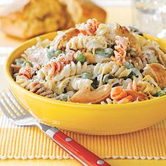 All You (June): Creamy Lemon Pasta with Chicken - If you have leftover chicken, toss together this quick recipe for Creamy Lemon Pasta with Chicken. Feel free to vary the veggies for what you have on hand.