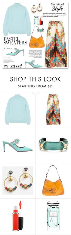 """""""Time for a Snuggly Pastel Sweater"""" by ellie366 ❤ liked on Polyvore featuring Khaite, Gucci, Aquazzura, Alexis Bittar, Dolce&Gabbana, MAC Cosmetics, By Terry, mules, widelegpants and turtleneck"""
