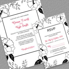 black and white floral border wedding invitation and rsvp wedding invitation templates