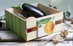 Купить Ящик для овощей и фруктов декупаж - зеленый, ящик для хранения, ящик, ящик деревянный, дизайнерская мебель, дизайн, баночки для кухни, кухня, декупаж, пряный лес, fruit, vegetable, box, handmade, decor, kitchen, buy, design, nature, wood, oranje, plants, decoupage