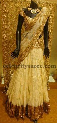 Rich Gold Half Saree Crushed Border | Saree Blouse Patterns